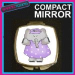 LILAC ELEPHANT COMPACT LADIES METAL HANDBAG GIFT MIRROR